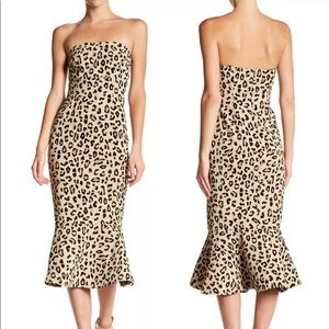 Cinq A Sept Leopard Luna Strapless Mermaid Dress 6